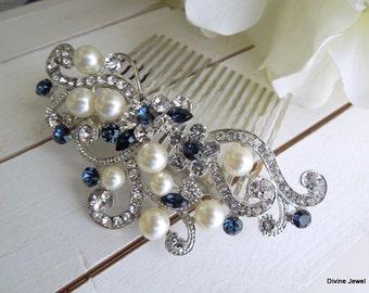 ivory pearl Bridal Rhinestone Hair Comb Wedding Rhinestone Hair Comb flower Rhinestone Hair Comb Swarovski Crystals Something Blue KENDRA