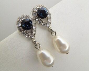 Pearl Earrings Bridal Rhinestone Earrings Something Blue Earrings Crystal Bridal Earrings Bridal Stud Earrings Swarovski  Earrings DANAY
