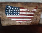 American Flag Decor, United States Decor, Patriotic Wall Art ,Rustic Flag, Stars and Stripes, America Pride, Free Shipping 24x14