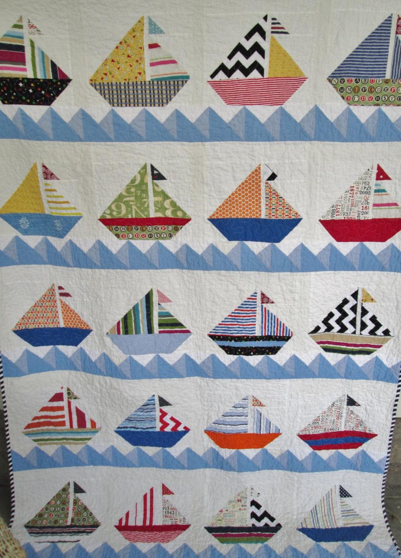 Sailboat Quilt Nautical Cottage Quilt Lake House Quilt