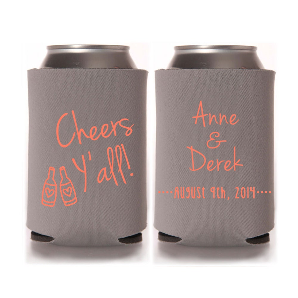Personalized Can Coolers ~ Personalized wedding can coolers cheers by