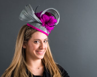 Kentucky Derby Silk Abaca Fascinator with fuchsia feather flowers and trim. Great for the Kentucky Derby, Ascot, Weddings, Church, Easter