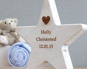 Christening Wooden Star Keepsake Personalised