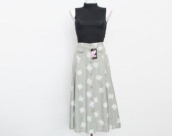 90s high waist grey flared long Skirt NOS Vintage size S