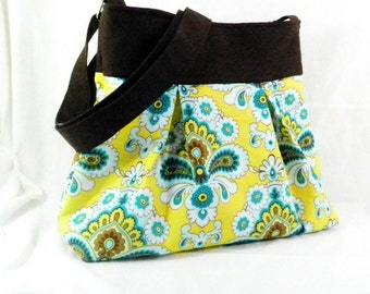 Amy Butler Purse, Cross Body Bag, French Wallpaper, Mustard and Teal, Long Strap Purse, Aquamarine Custard, Belle Fabric, Pretty Purse