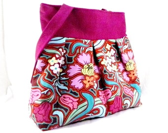 Amy Butler, Shoulder Bag, Pink and Aqua, Disco Flowers, Large Purse, Large Bag, Diaper Bag