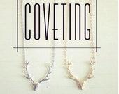 Stag Antler Deer Necklace Sterling Silver 14K Gold Fill Fashion Trending