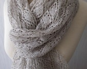Linen Scarf Knit Shawl  Natural Summer Wrap in Grey Women