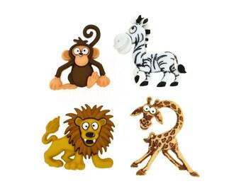 Jesse James Buttons Silly Safari Lion Giraffe Zebra Monkey Novelty Shank Sewing Craft Button