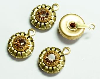 Vintage Swarovski Light Colorado Topaz 10mm Brass Drop (6)