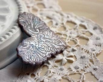 Brooch Shawl Scarf Pin / Faux Marble Gold Blue Cinnabar Copper Zephyr OOAK Heart / Handmade Jewelry Jewellery