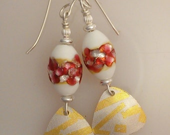 Kheum-boo and Vintage Japanese Glass Earrings - red and white