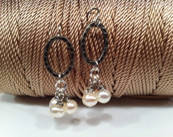 Dangle of PEARLS Pretty Feminine Fashionable Unique Classic Pair of EARRINGS Dressy Special Occasion for the Trendy Fashion Forward Diva