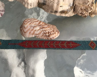 Crimson Feather - Handmade Peyote Stitch Bracelet