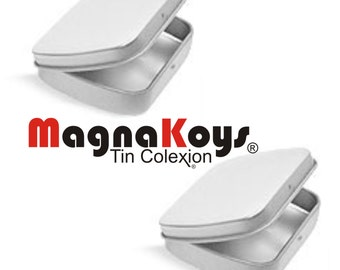 MagnaKoys®.Silver Metal Hinge Top Tin Containers for Crafts Geocache Storage Survival Kit