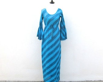 SALE Vintage 1960s Turquoise Sheer Mexican Wedding Maxi Dress Size S