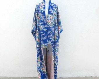 Kimono Long Silk Cobalt Blue Japanese Robe