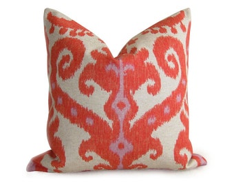 Pair of 2 Ikat Pillow Covers - Orange Red Coral - 18 inch - Ikat Pillow - Decorative Pillows - Throw Pillows