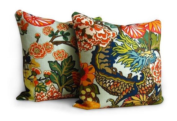 Chiang mai dragon pillows pillow covers f schumacher for T furniture chiang mai
