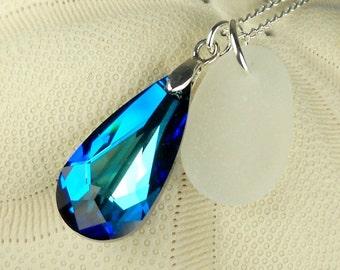 Sea Glass Jewelry Bermuda Blue Swarovski Genuine Crystal with White Sea Glass Necklace
