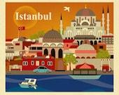Istanbul Skyline Art Print, Turkish Art, Istanbul Turkey Travel Poster, Istanbul horizontal print, Istanbul Art Gift, 3 sizes style E8-O-IST