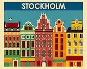 Stockholm Art Print, Stockholm Skyline, Sweden Retro Travel Poster, Stockholm Wall Art, Swedish Baby, Swedish Wall Art Gift - style E8-O-STO
