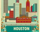 Houston Skyline Print, Houston Texas Poster, Houston Vertical Texas Print, Houston Digital Print, Houston Nursery Art - style E8-O-HOUS2