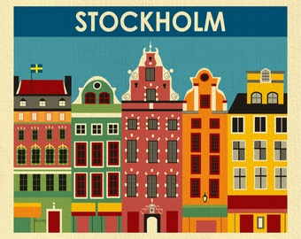 Stockholm Art Print, Stockholm Skyline, Sweden Retro Travel Poster, Stockholm Wall Art, Swedish Baby, Swedish Wall Art Gift - style E8-O-STO
