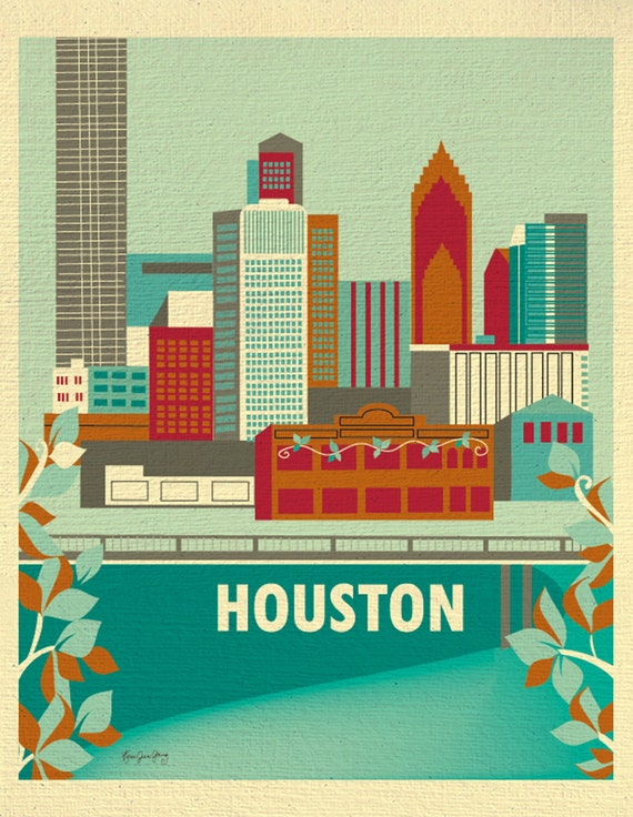 Houston Skyline Print, Houston Texas Poster, Houston Vertical Texas Print, Houston Giclee Print, Houston Nursery Art - style E8-O-HOUS2