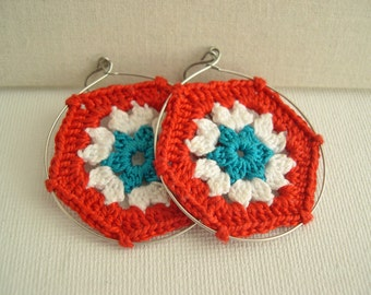 Granny Hexagon Dark Orange White Teal Earrings - Fashion Lace Earrings - Retro Style - Lace Fashion hexagon earrings