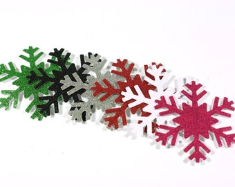 3, 10, 20, or 50 Glitter Snowflake Die Cuts 2 1/4 inch Cardstock Cut Outs Choose your color Silver blue More Colors available punchies