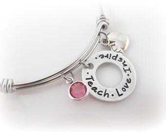 Teacher Bracelet Charm Bangle Teach Love Inspire Apple Charm Birthstone Jewelry Hand Stamped Gift for Teacher