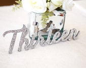 Table Number Words in GLITTER - Wooden Words for Table Number Wedding Decor in Sparkling Glitter (Item - LWN300)