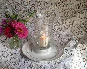 Vintage Candle Stick Holder / Metal Candle Holder / Votive Candle / Vintage Candle Holder / White Candle Holder