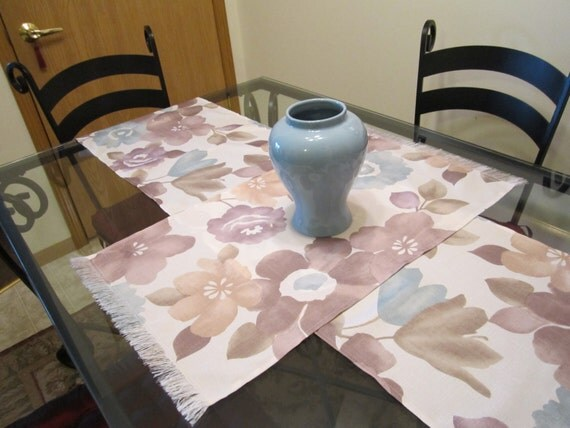 Table Runners - Table Toppers - Table Cloths - Lavender Taupe Light Blue - Big Flower Design - Size Choice - Spring Easter Decor