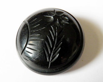 Carved Black Bakelite Coat Button Sun Rays and Flower