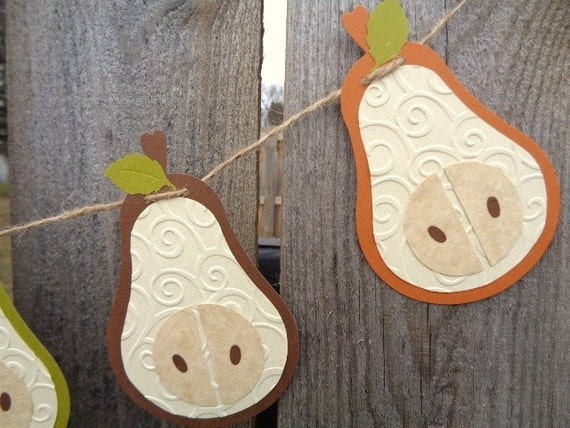 Pear garland rustic kitchen fruit home decor by Pear home decor