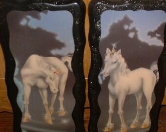 Wonderful 2 Long UNICORN Wall Plaques 70s Fantasy Great Detail