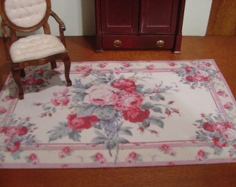 Dollhouse Aubusson rug pink red beige :12 scale