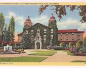 Stanford University Palo Alto California Postcard - The Stanford Union - Vintage Linen Postcard - Souvenir of Stanford Campus