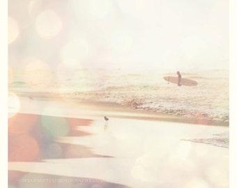 beach photo, surfer photograph, Summer Lights, surfboard, California, Manhattan Beach morning seaside, pale pink girls room wall art