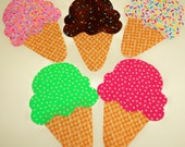 Special...5 Iron On Applique ICE CREAM CONE...Assorted Rainbow Sprinkles...Strawberry Mint..Great For Onesies/Quilts/Pillows