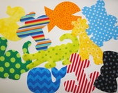 10 Iron On Baby Boy Fabric Applique Assortment...Whale/Giraffe/Dinosaur/Duck/Anchor..Good For Baby Shower Onesie Making Party/Quilts/Onesies