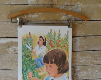 Vintage Retro Teaching Print 1965 Tomato Mom and Daughter