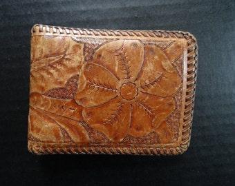 Vintage Leather Western Eagle Hand Tooled Wallet  1950's