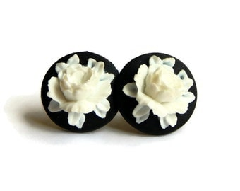 Black and White Rose Cameo Earrings Rockabilly, Pinup, Vintage Inspired Flower Jewelry
