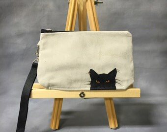 SALE Black Cat Sand Painted Leather Wristlet