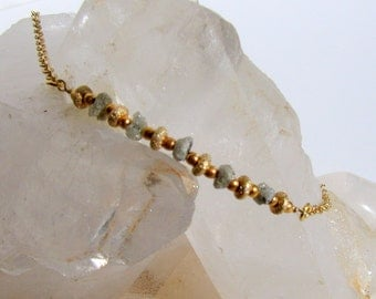Rough platinum diamonds and gold necklace -- Free US shipping