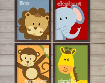 "Jungle Animals Nursery Printable Wall Art Set of4 Lion Elephant Giraffe Monkey -8""x10""- Instant Download Baby Kids Room Decor Digital Poster"