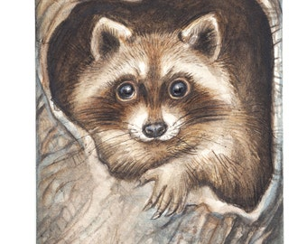 Original ACEO.. RACCOON No.3   Original Painting- Watercolor- Card -collectible- fine art - children art - woodland - nursery